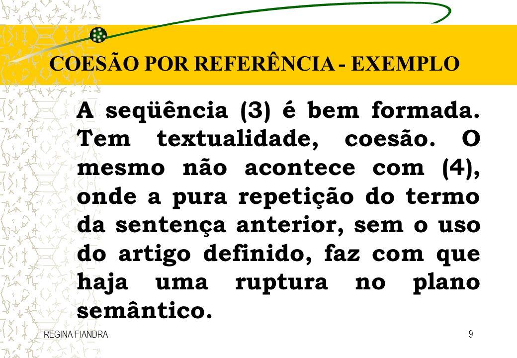 COESÃO POR REFERÊNCIA - EXEMPLO