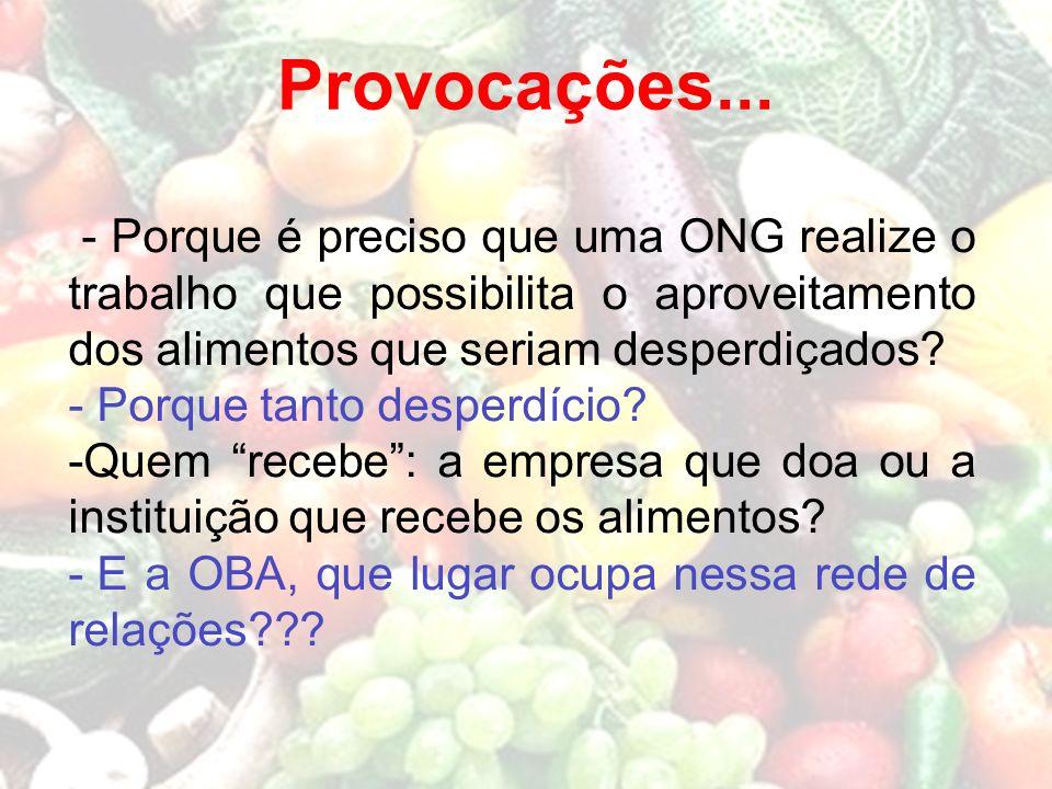 Provocações... - Porque é preciso que uma ONG realize o trabalho que possibilita o aproveitamento dos alimentos que seriam desperdiçados