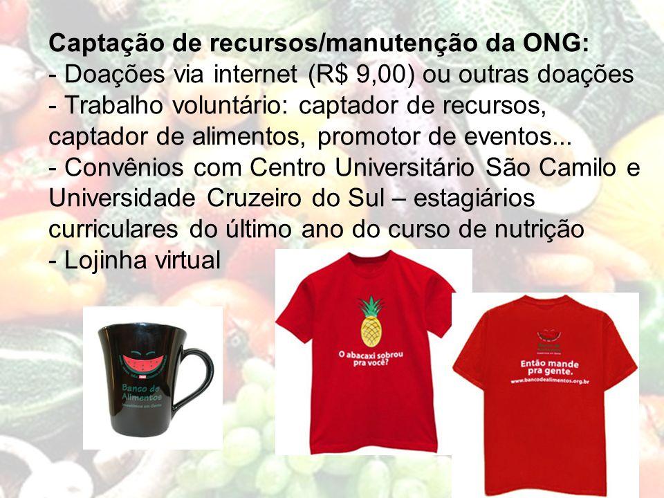 Captação de recursos/manutenção da ONG: