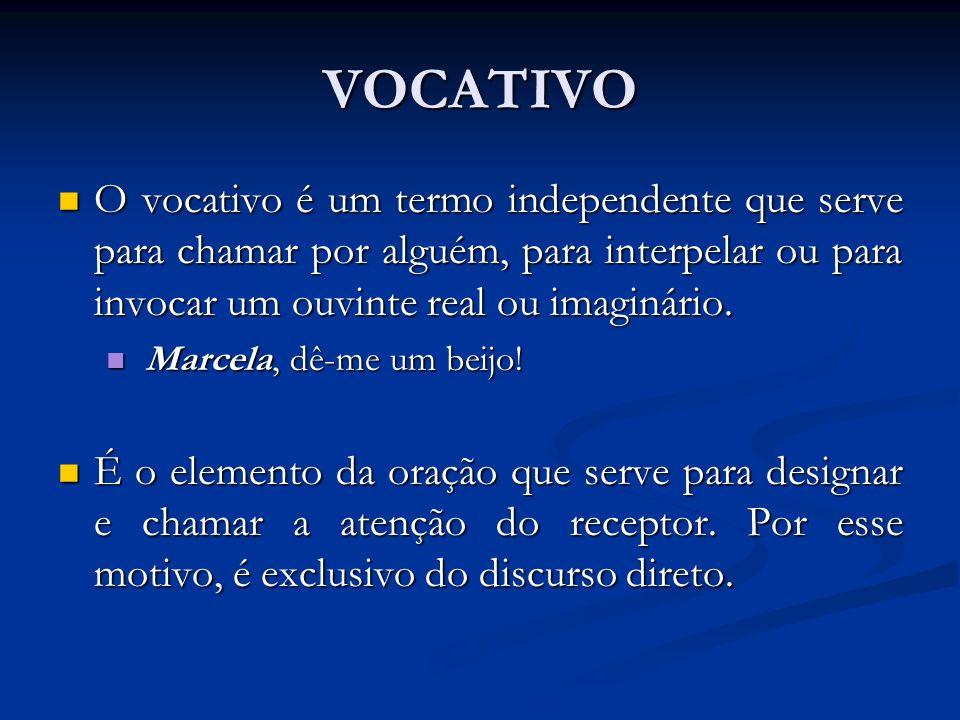 VOCATIVOO vocativo é um termo independente que serve para chamar por alguém, para interpelar ou para invocar um ouvinte real ou imaginário.