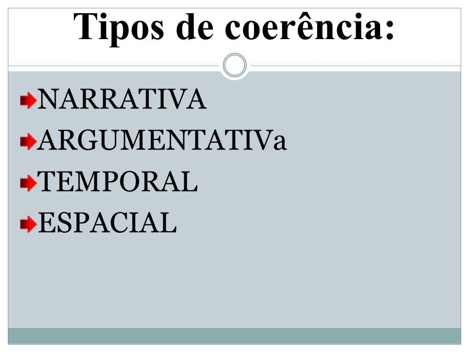 Tipos de coerência: NARRATIVA ARGUMENTATIVa TEMPORAL ESPACIAL