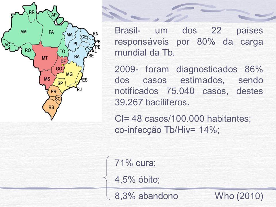 Brasil- um dos 22 países responsáveis por 80% da carga mundial da Tb.
