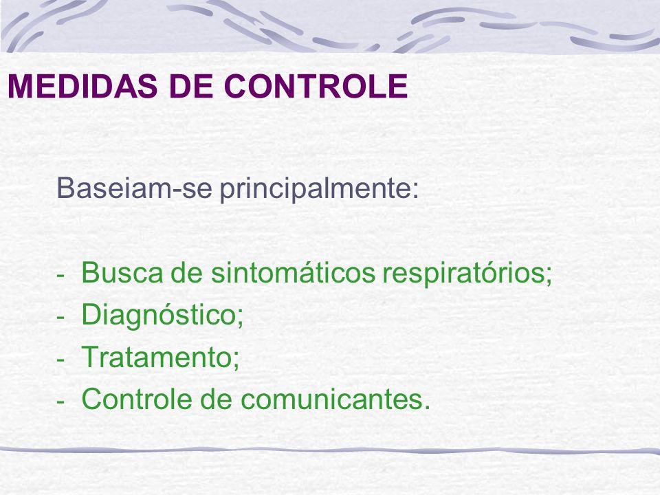 MEDIDAS DE CONTROLE Baseiam-se principalmente: