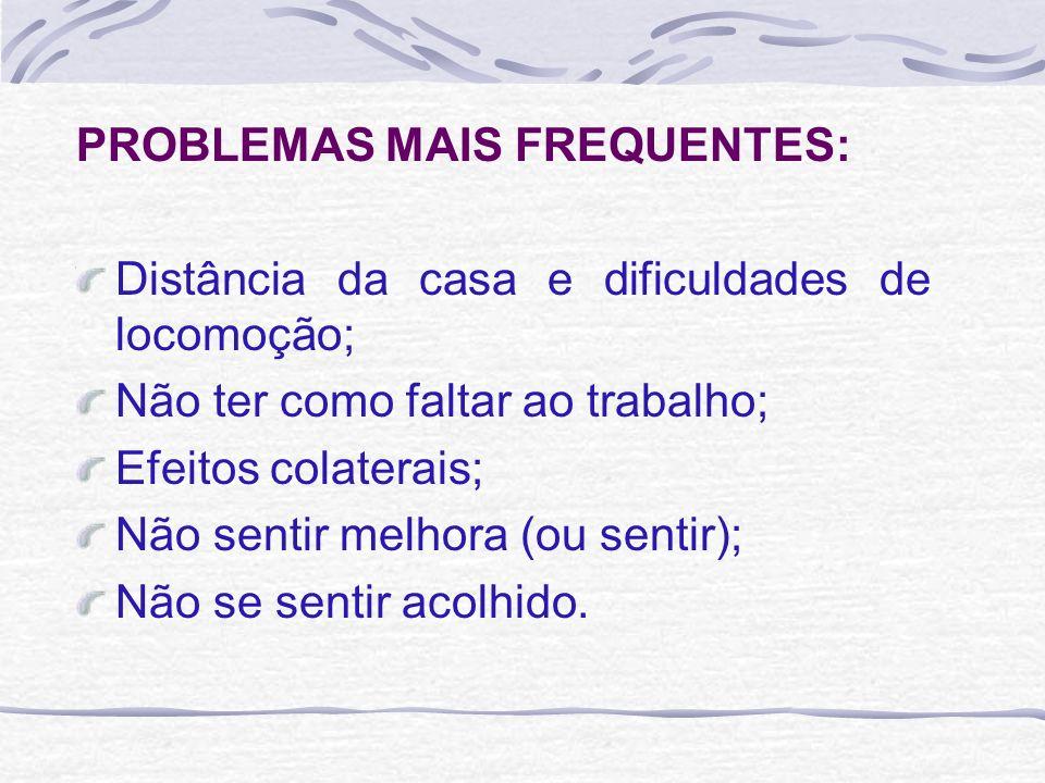 PROBLEMAS MAIS FREQUENTES: