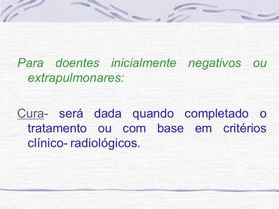Para doentes inicialmente negativos ou extrapulmonares: