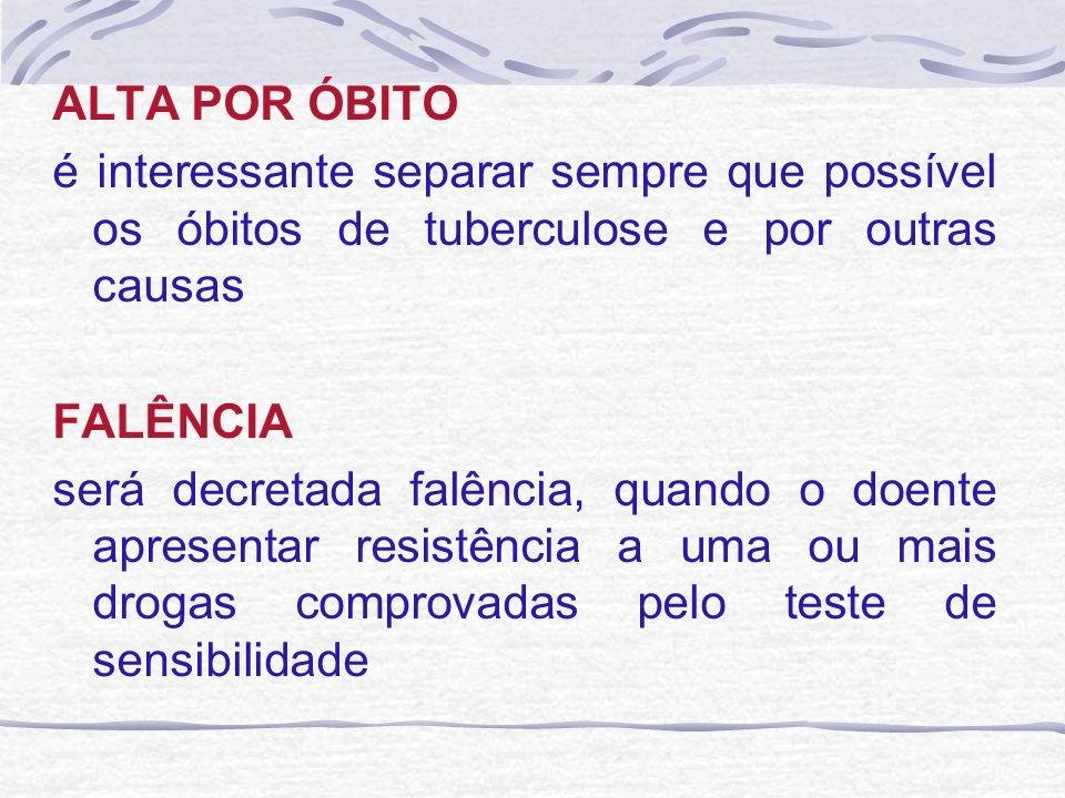 ALTA POR ÓBITO é interessante separar sempre que possível os óbitos de tuberculose e por outras causas.