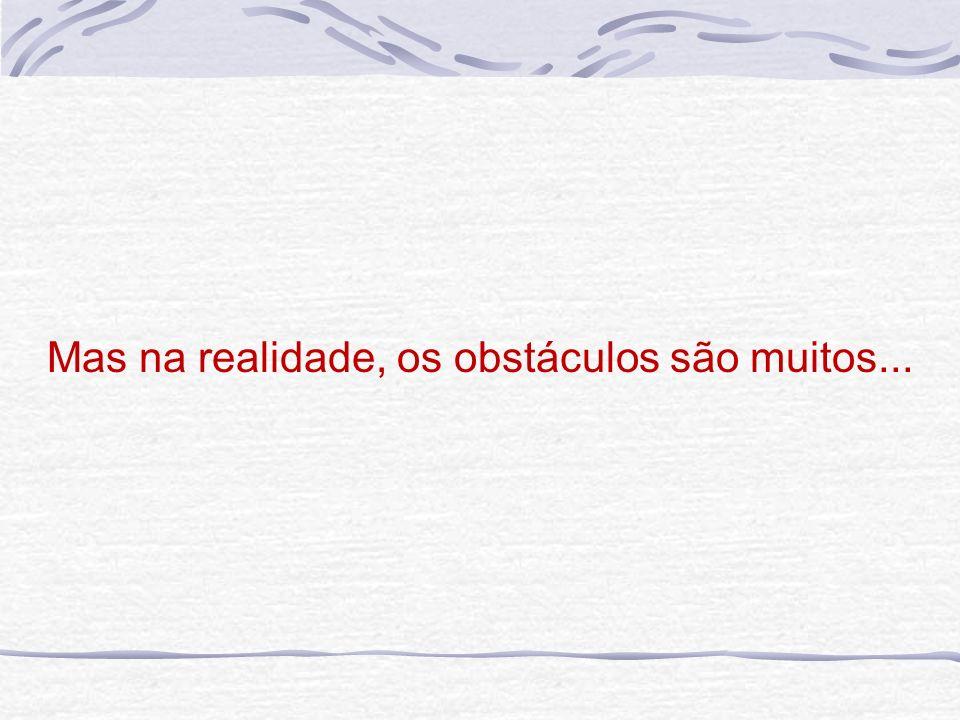 Mas na realidade, os obstáculos são muitos...