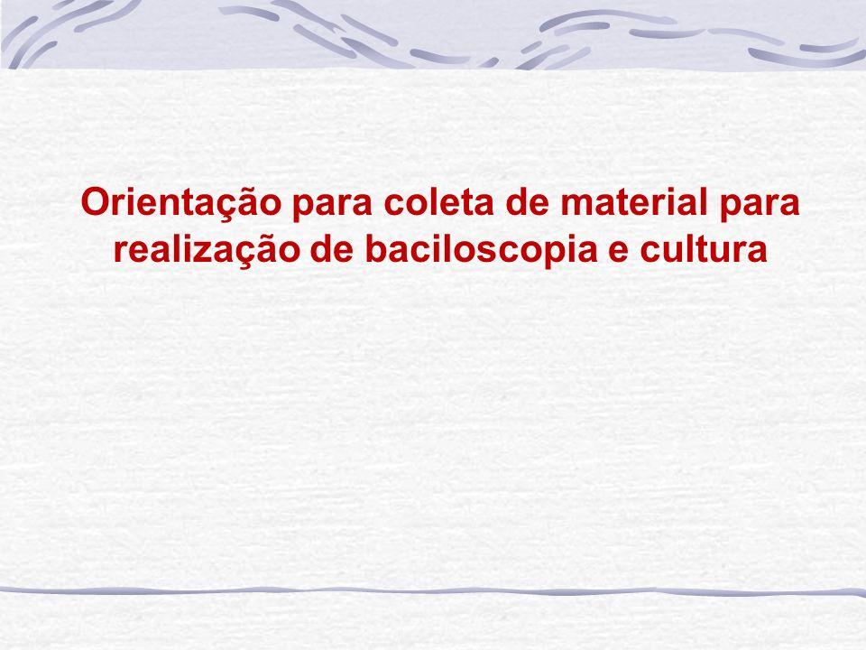 Orientação para coleta de material para realização de baciloscopia e cultura