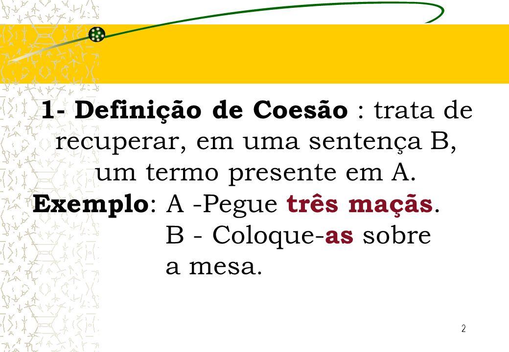 1- Definição de Coesão : trata de recuperar, em uma sentença B, um termo presente em A.