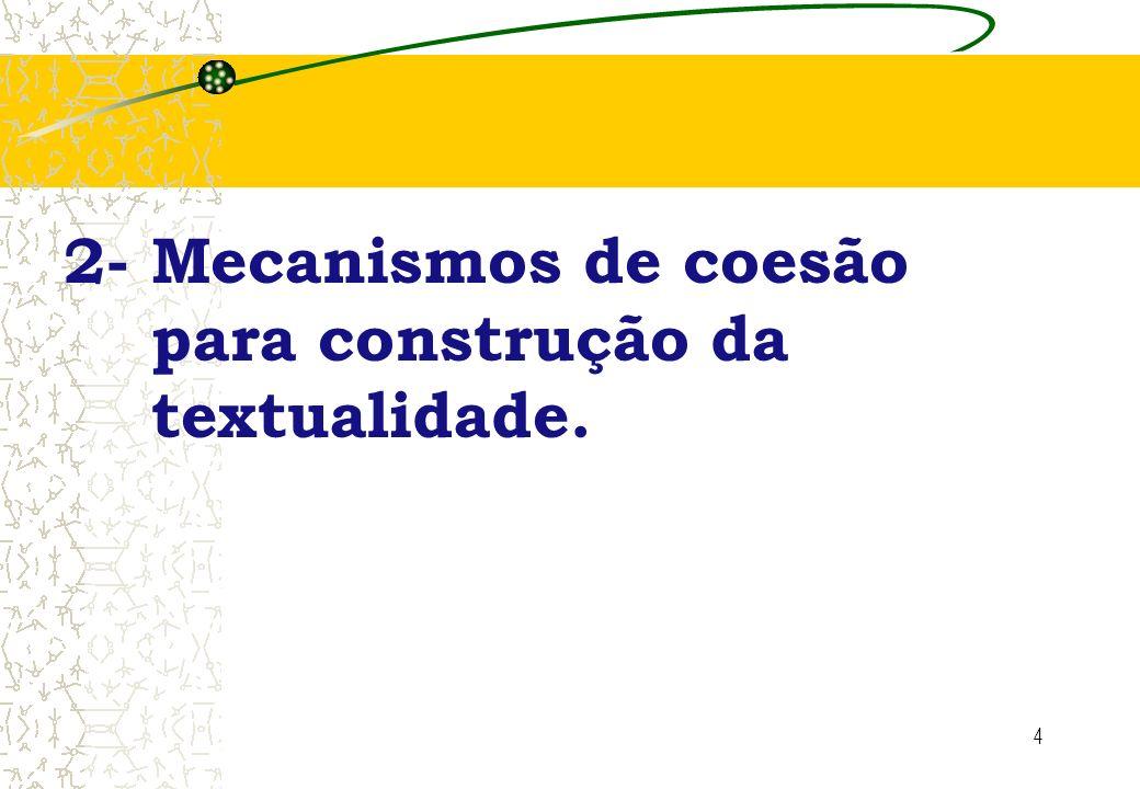 2- Mecanismos de coesão para construção da textualidade.