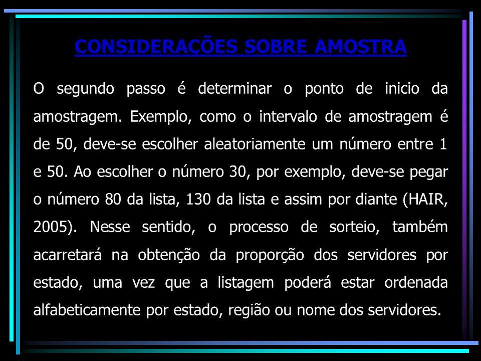 CONSIDERAÇÕES SOBRE AMOSTRA