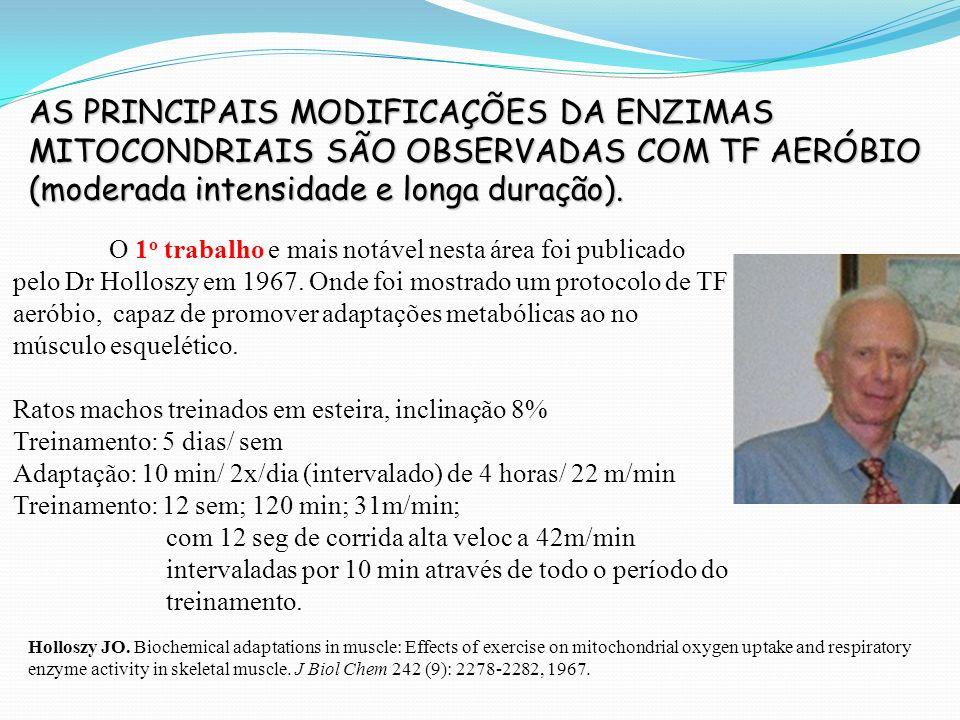 AS PRINCIPAIS MODIFICAÇÕES DA ENZIMAS MITOCONDRIAIS SÃO OBSERVADAS COM TF AERÓBIO (moderada intensidade e longa duração).