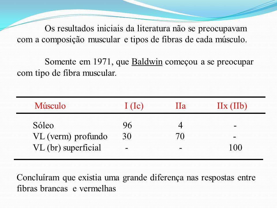 Os resultados iniciais da literatura não se preocupavam com a composição muscular e tipos de fibras de cada músculo.