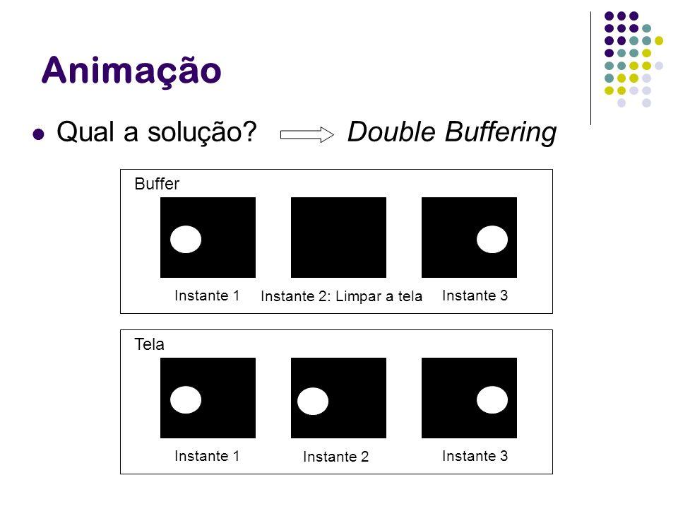 Animação Qual a solução Double Buffering Buffer Tela