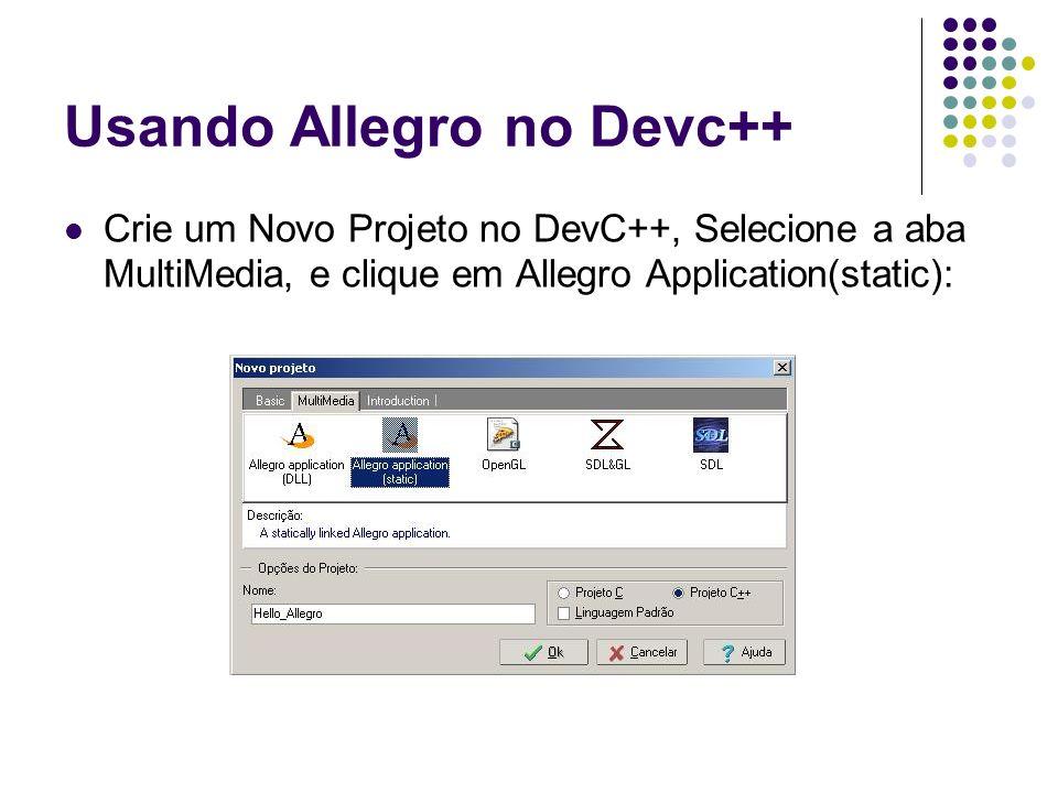 Usando Allegro no Devc++