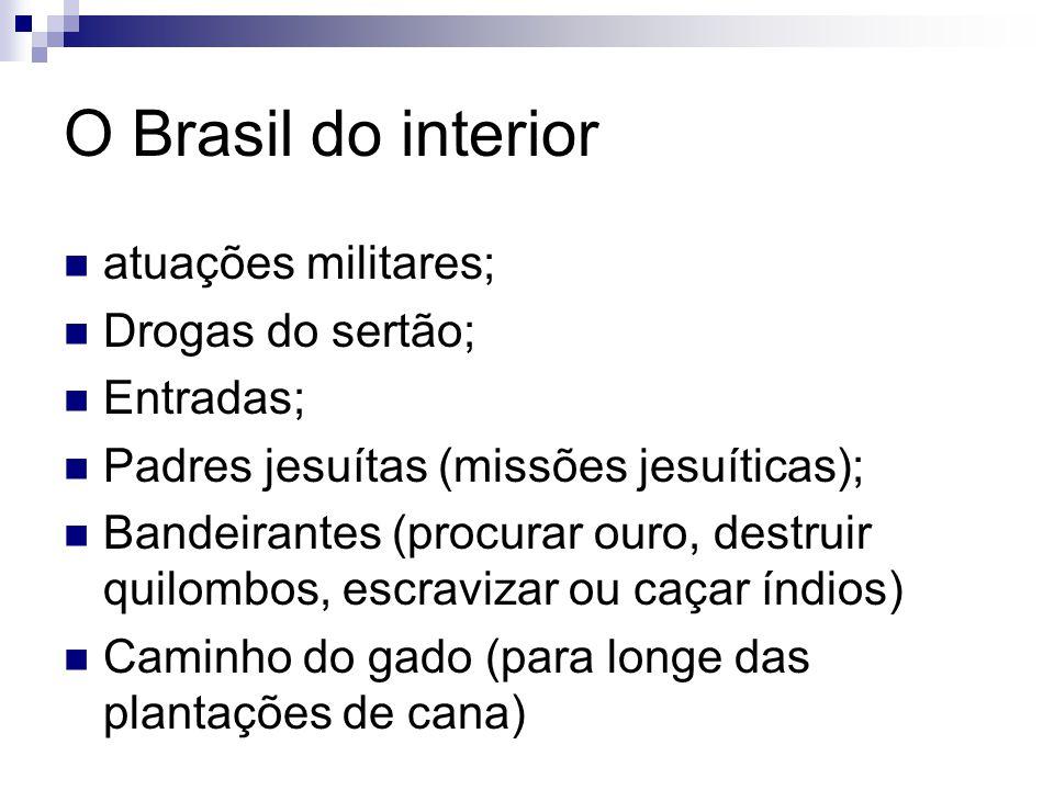 O Brasil do interior atuações militares; Drogas do sertão; Entradas;