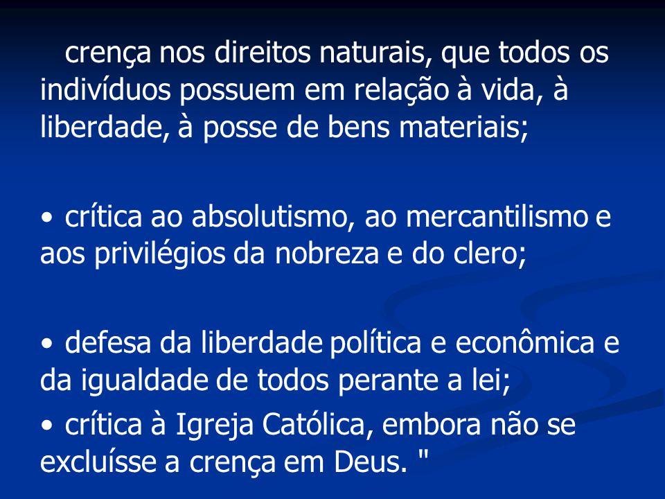 crença nos direitos naturais, que todos os indivíduos possuem em relação à vida, à liberdade, à posse de bens materiais;