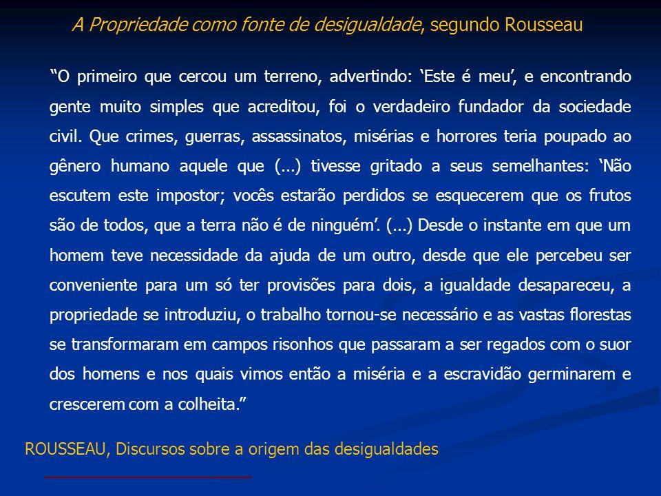 A Propriedade como fonte de desigualdade, segundo Rousseau