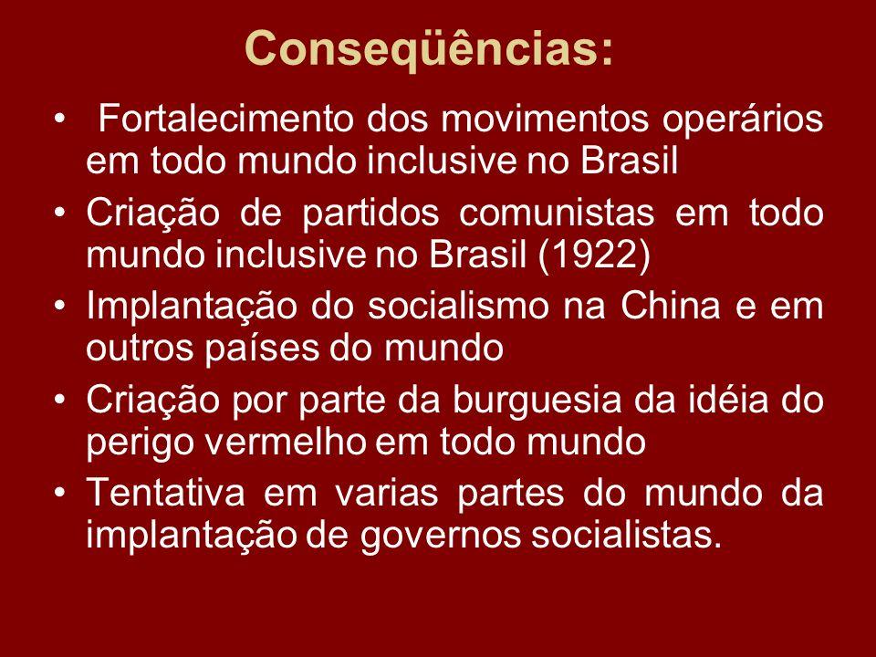 Conseqüências: Fortalecimento dos movimentos operários em todo mundo inclusive no Brasil