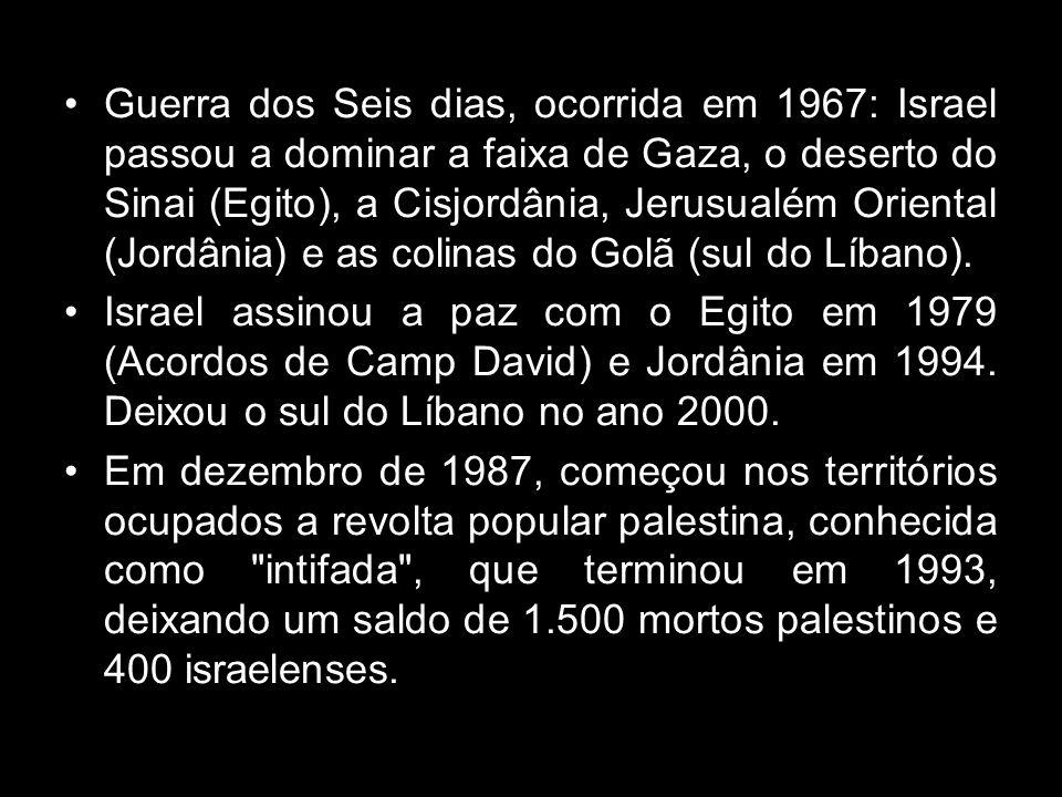 Guerra dos Seis dias, ocorrida em 1967: Israel passou a dominar a faixa de Gaza, o deserto do Sinai (Egito), a Cisjordânia, Jerusualém Oriental (Jordânia) e as colinas do Golã (sul do Líbano).