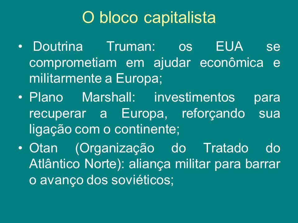 O bloco capitalista Doutrina Truman: os EUA se comprometiam em ajudar econômica e militarmente a Europa;