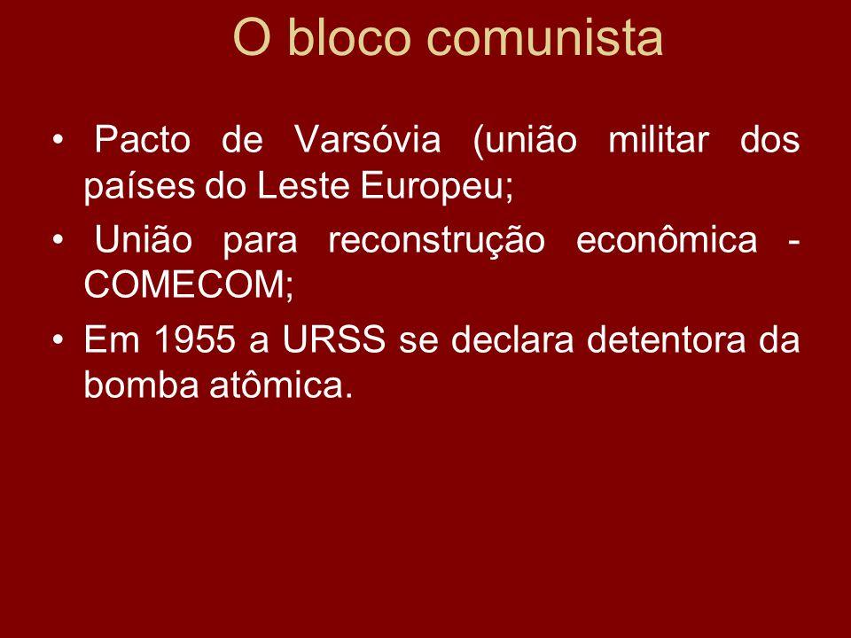 O bloco comunistaPacto de Varsóvia (união militar dos países do Leste Europeu; União para reconstrução econômica - COMECOM;