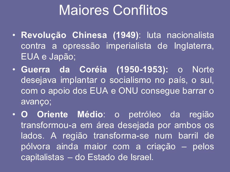 Maiores Conflitos Revolução Chinesa (1949): luta nacionalista contra a opressão imperialista de Inglaterra, EUA e Japão;