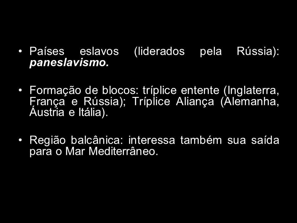 Países eslavos (liderados pela Rússia): paneslavismo.