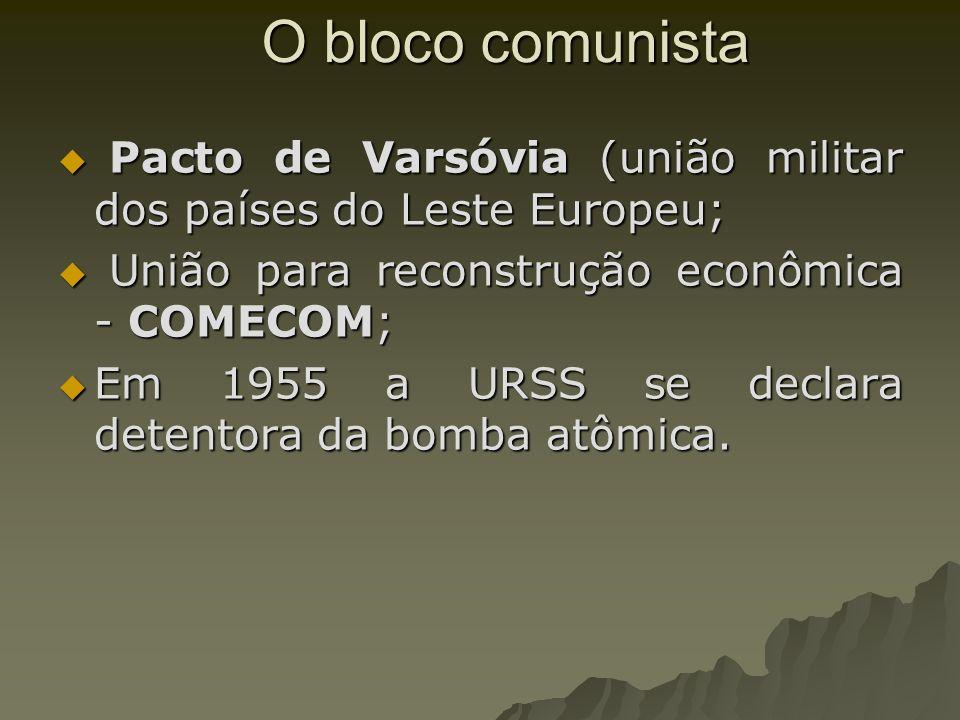 O bloco comunista Pacto de Varsóvia (união militar dos países do Leste Europeu; União para reconstrução econômica - COMECOM;
