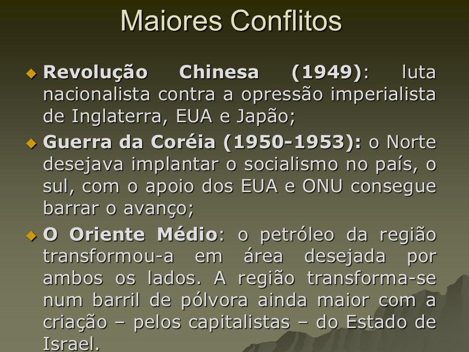 Maiores ConflitosRevolução Chinesa (1949): luta nacionalista contra a opressão imperialista de Inglaterra, EUA e Japão;