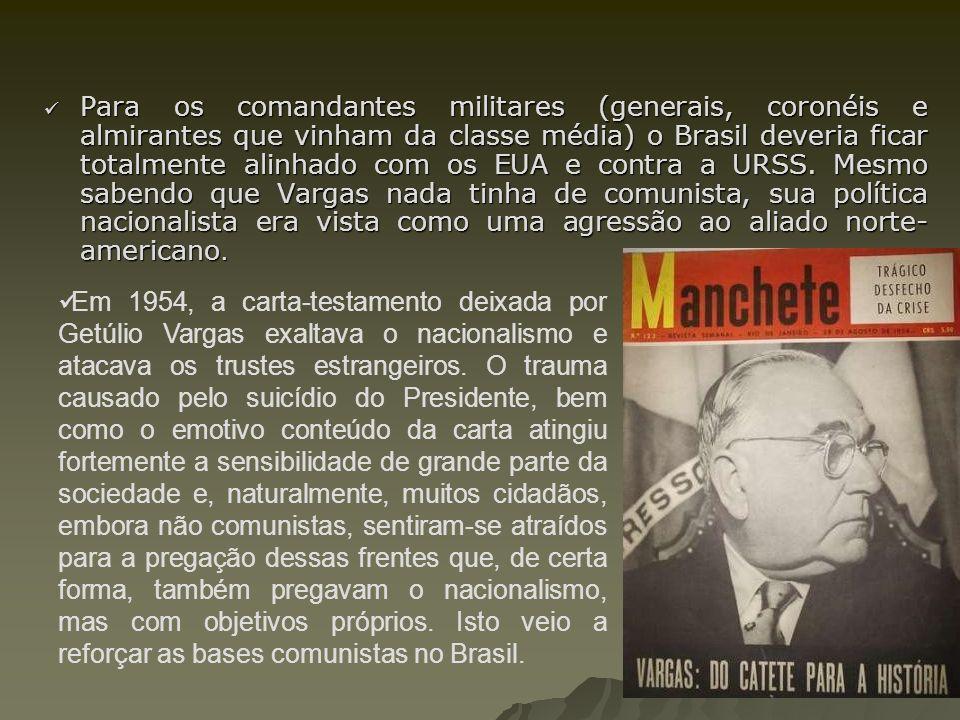 Para os comandantes militares (generais, coronéis e almirantes que vinham da classe média) o Brasil deveria ficar totalmente alinhado com os EUA e contra a URSS. Mesmo sabendo que Vargas nada tinha de comunista, sua política nacionalista era vista como uma agressão ao aliado norte-americano.