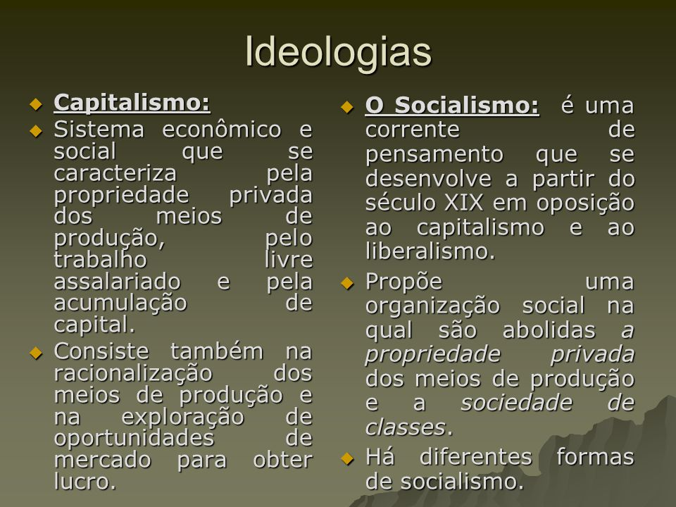 Ideologias Capitalismo:
