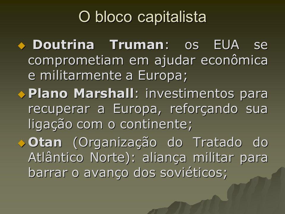 O bloco capitalistaDoutrina Truman: os EUA se comprometiam em ajudar econômica e militarmente a Europa;