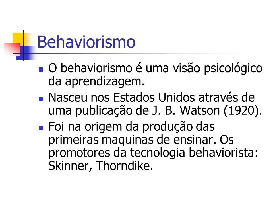 Behaviorismo O behaviorismo é uma visão psicológico da aprendizagem.