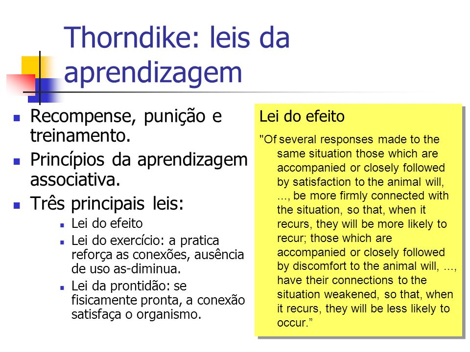 Thorndike: leis da aprendizagem