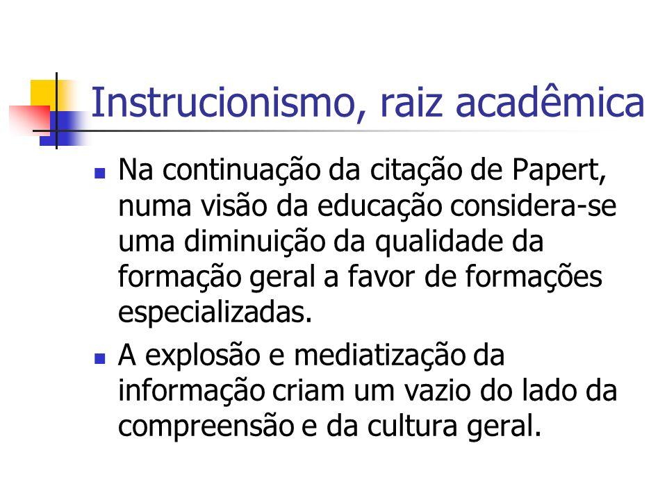 Instrucionismo, raiz acadêmica
