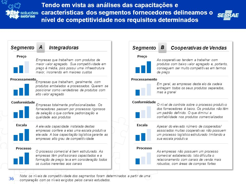 Tendo em vista as análises das capacitações e características dos segmentos fornecedores delineamos o nível de competitividade nos requisitos determinados