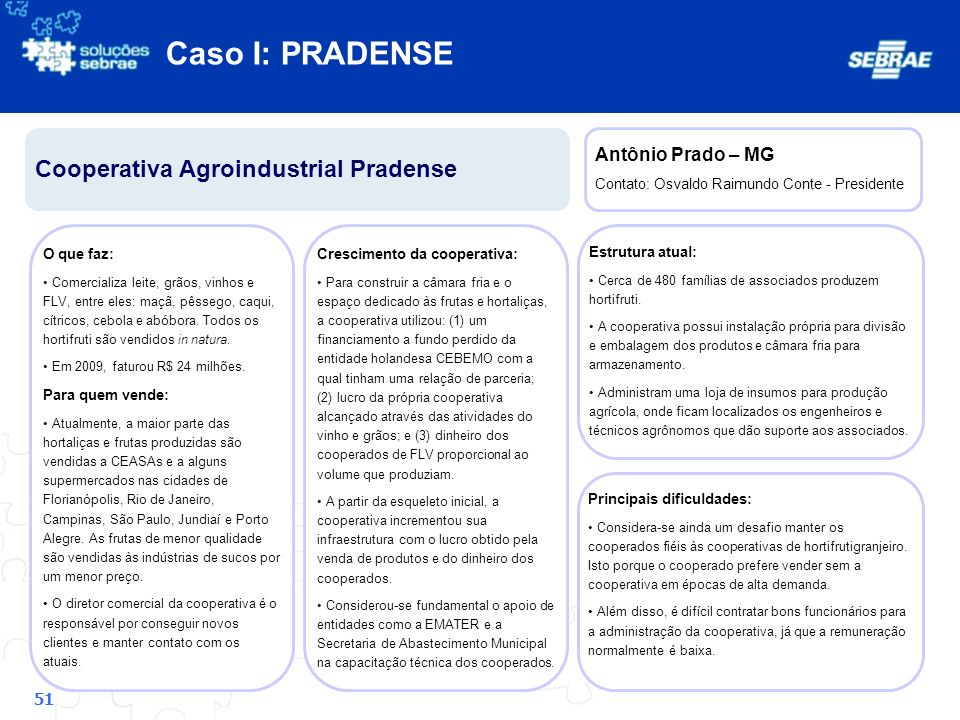 Caso I: PRADENSE Cooperativa Agroindustrial Pradense