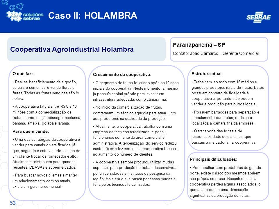 Caso II: HOLAMBRA Cooperativa Agroindustrial Holambra