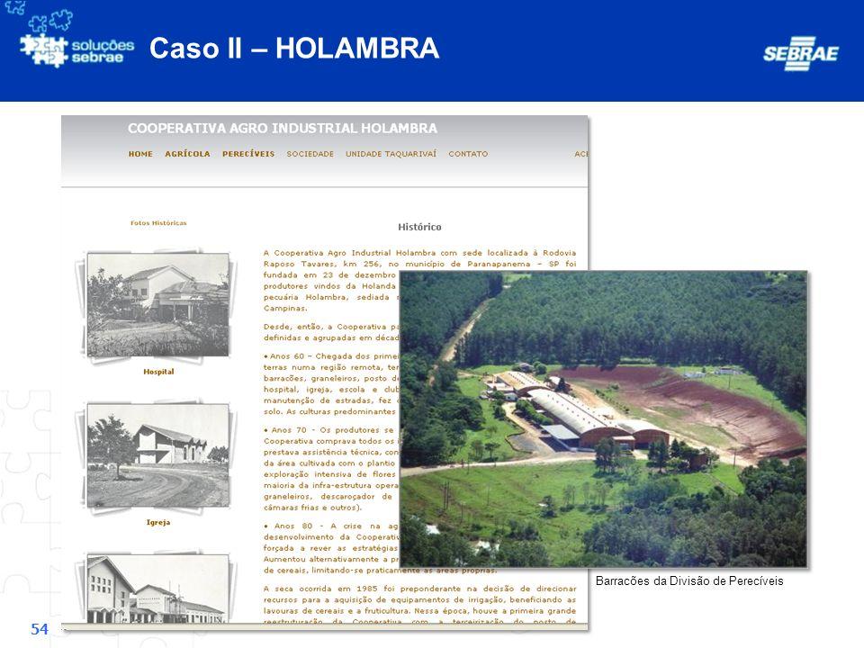 Caso II – HOLAMBRA Barracões da Divisão de Perecíveis