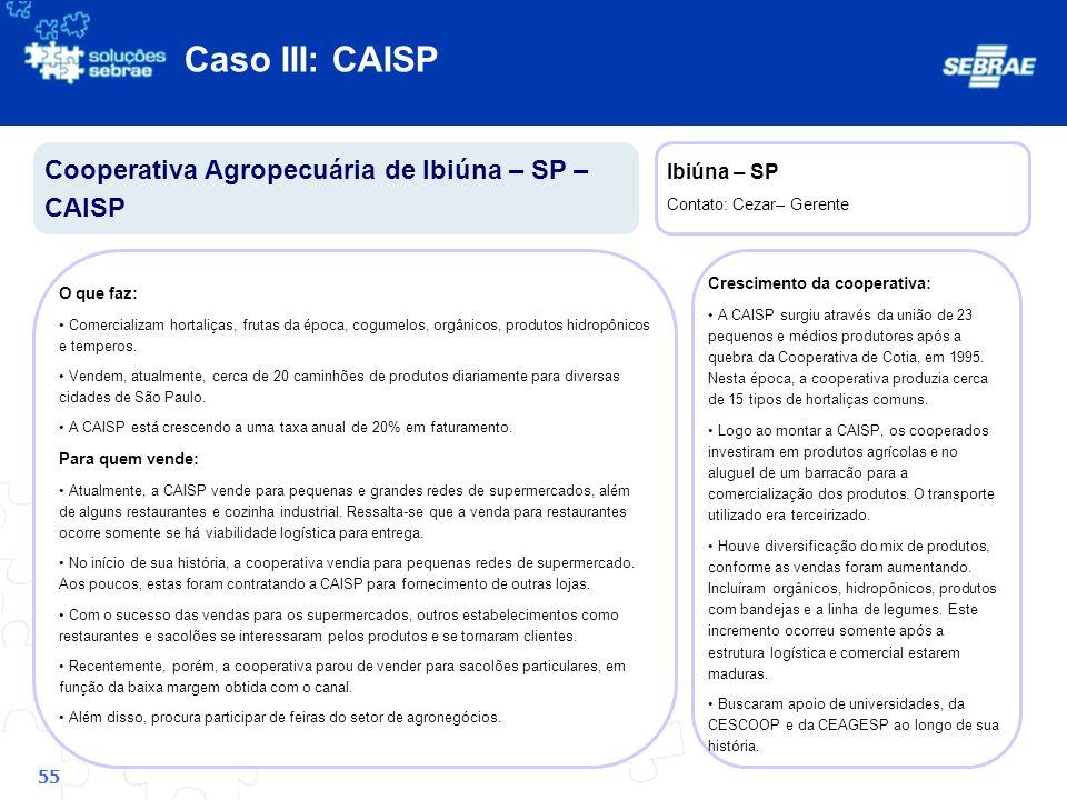 Caso III: CAISP Cooperativa Agropecuária de Ibiúna – SP – CAISP