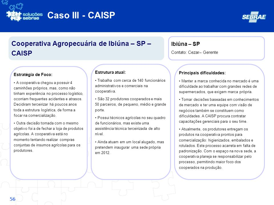 Caso III - CAISP Cooperativa Agropecuária de Ibiúna – SP – CAISP