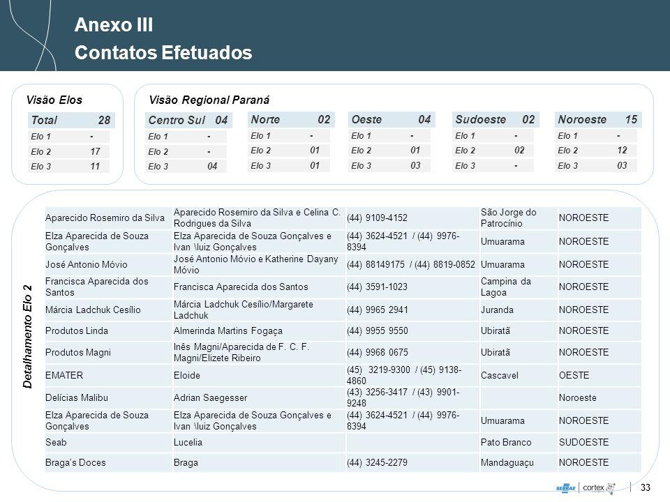Anexo III Contatos Efetuados Visão Elos Visão Regional Paraná Total 28