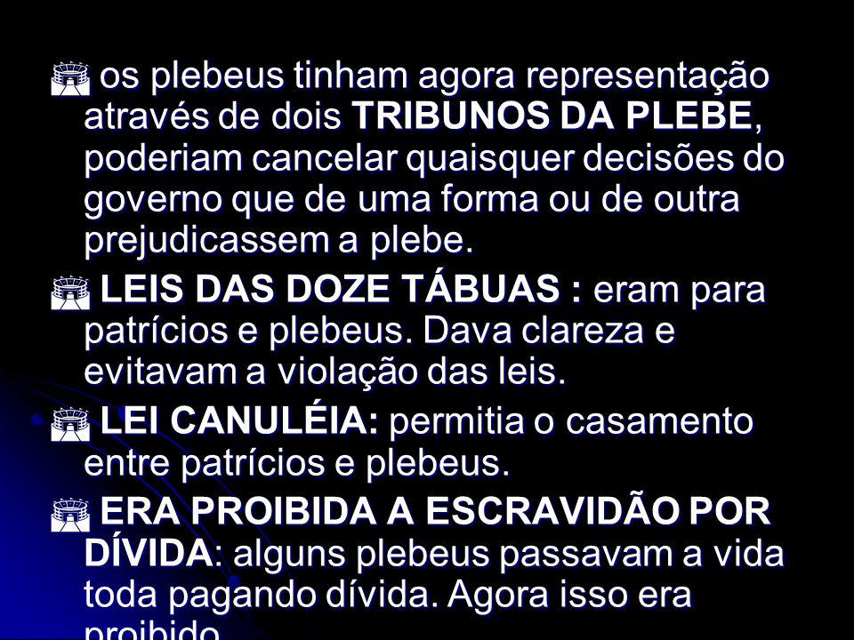  os plebeus tinham agora representação através de dois TRIBUNOS DA PLEBE, poderiam cancelar quaisquer decisões do governo que de uma forma ou de outra prejudicassem a plebe.