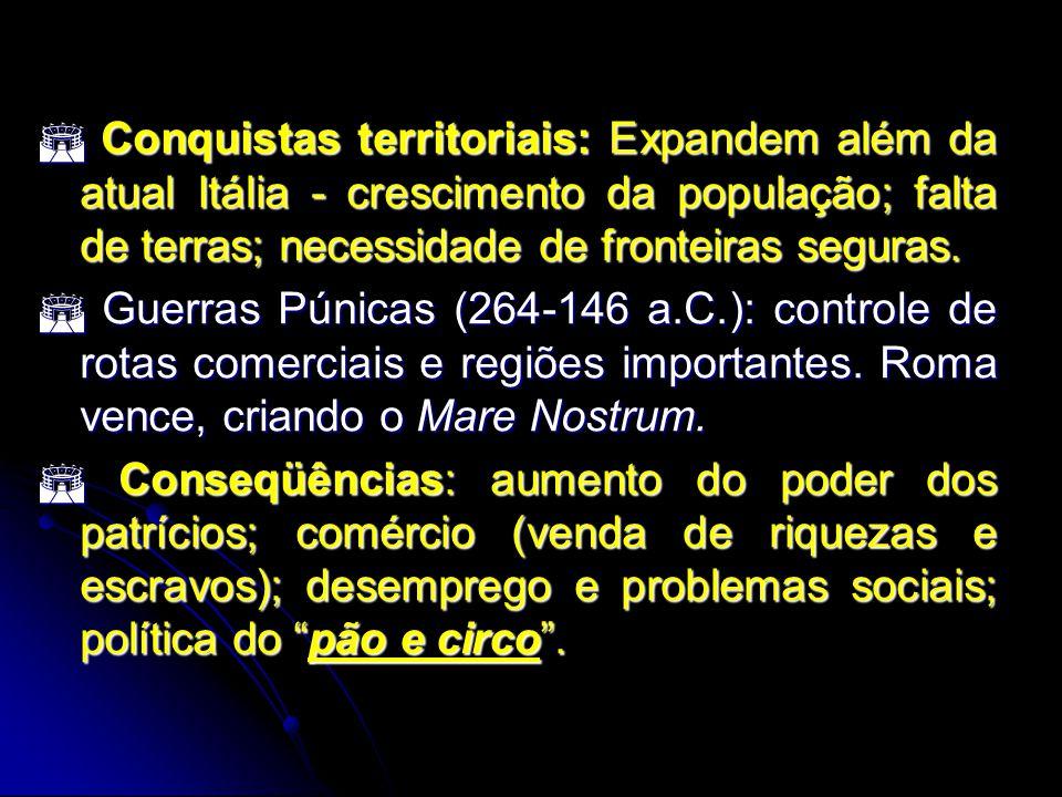  Conquistas territoriais: Expandem além da atual Itália - crescimento da população; falta de terras; necessidade de fronteiras seguras.