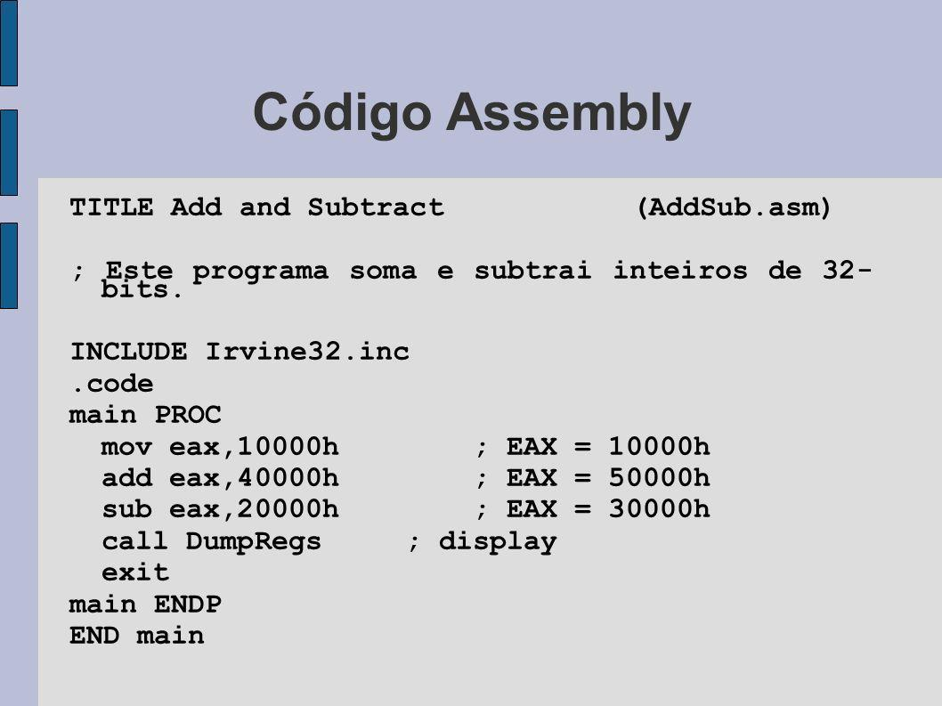 Código Assembly TITLE Add and Subtract (AddSub.asm)