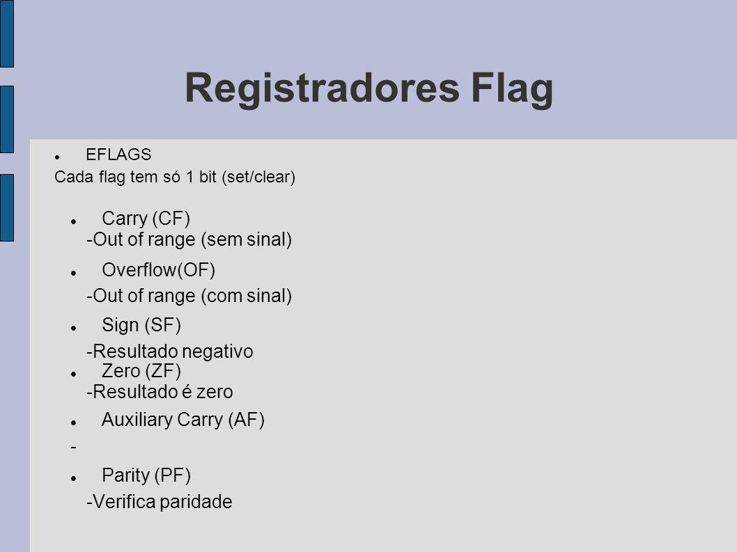 Registradores Flag Carry (CF) -Out of range (sem sinal) Overflow(OF)