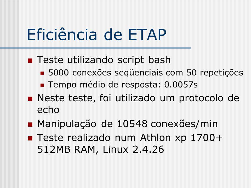 Eficiência de ETAP Teste utilizando script bash