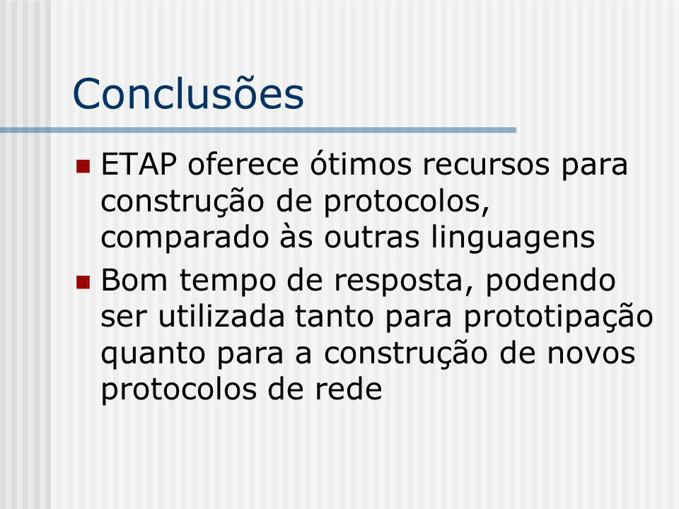 Conclusões ETAP oferece ótimos recursos para construção de protocolos, comparado às outras linguagens.