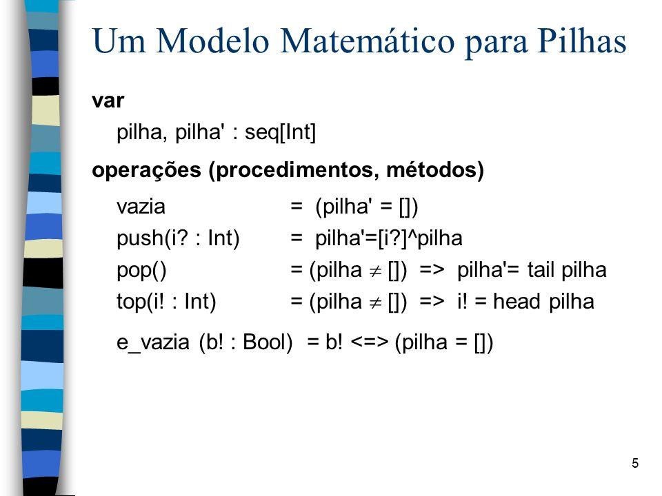 Um Modelo Matemático para Pilhas